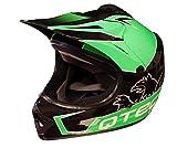 Qtech Niños Casco del Camino Motocross MX ATV BMX - Negro Mate NitroN S (52-53cm) - Verde