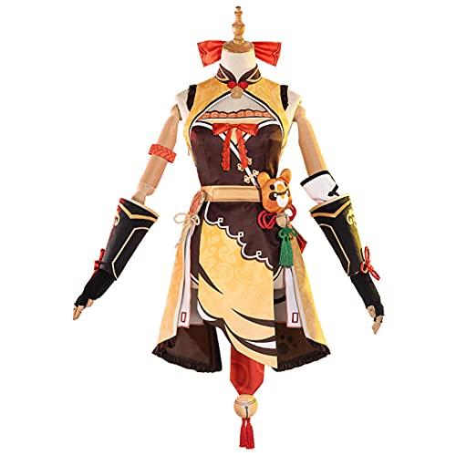 Traje de Disfraces de Hombres, Riyuegang Chef Genshin Impactar XIANGLING COS, Juego de Mujeres de Riyuegang Chef Set de Anime Disfraz de Halloween para los fanáticos S