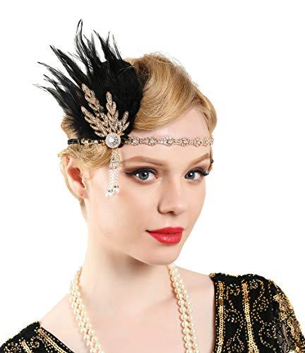 Zivyes Hoofdband in jaren 20 stijl, roaring, 20 accessoires, bruiloft, hoofdpiece grote gatsby haaraccessoires