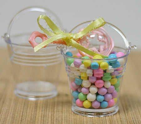 Mini Clear Plastic Favor Pails - Package of 24 - For Shower Favors
