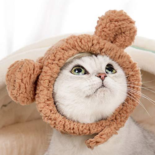 FAPROL Collar De Gato, Disfraz para La Cabeza para Mascotas, Trajes para Mascotas, Sombrero con Orejas De Oso, Disfraz Bonito De Gato para Gatos O Perros Pequeos Brown M