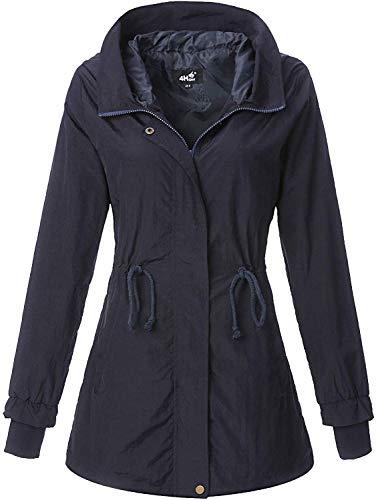 4How Damen Windjacke Übergangsjacke Long Spring Jaket Parka Coat Wind- und Wasserabweisend Regenjacke Mantel Navy DE42