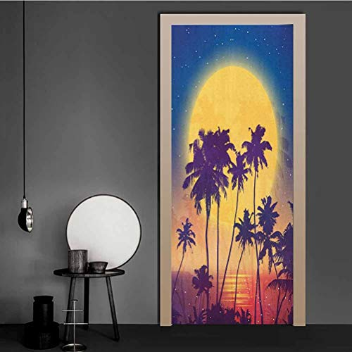 Homesonne Mural Wallpaper Retro Style Full Moon Rise with Palm Silhouettes Romantic Magic Night at the Beach Vinyl Art Wall Decals for Business Office - Bedroom Living Room Decor Multicolor 98x200 CM