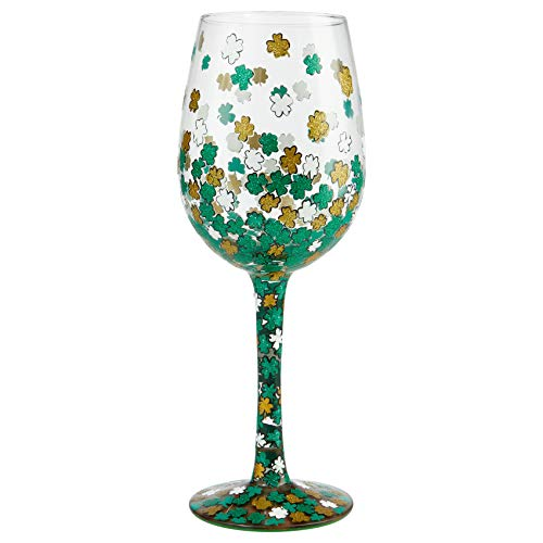 Enesco Designs by Lolita Shamrock Hand-Painted Artisan Wine Glass, 15 Ounce, Multicolor