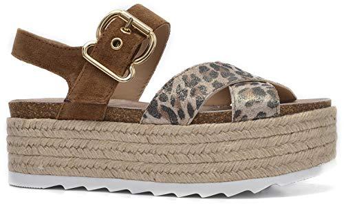 Alpe Michelle – sandalen van leer met dierenprint – 37-378198A3-37 – luipaardkraag.