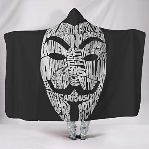 Guy Fawkes Masker, print, draagbaar, dunne jas met capuchon, warm cadeau voor familie en vrienden