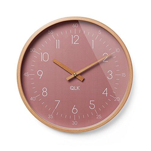 QLK Wanduhr rosa Slight Moderne Design Uhr mit Holzrahmen und Zeigern, Ø31 cm (Altrose)