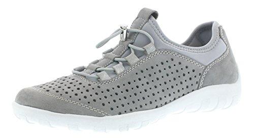Remonte R3500 Damen Sneaker, Sportschuh, Halbschuh, Sommerschuh, Slipper mit Schnüroptik grau (cement/lightgrey/silber/40), EU 44