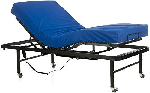 Ferlex - Cama articulada eléctrica geriátrica hospitalaria con Patas Regulables y Ruedas con Frenos | Colchón Sanitario viscoelástico (90x190)