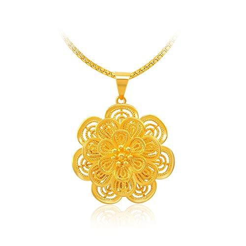 MSTOT gouden ketting met bloemenhanger, hanger van goud, modieus, met 24 karaat goud