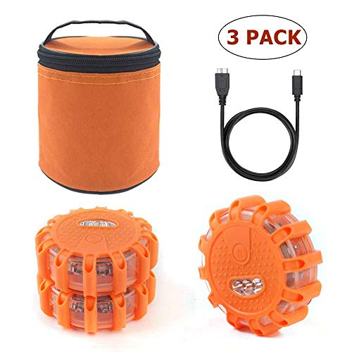 USB Rechargeable LED Road Flares Emergency Lights-Roadside Warning Car Safety Beacon Flashing Disc Flare Kit with Magnetic Base for Vehicles & Boat | 3 Beacon Disc Pack
