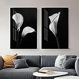 Moderno abstracto blanco tulipán flor lienzo pintura nórdica imagen de arte de pared para sala de estar fondo negro planta impresión de cartel 70x100cmx2 Sin marco