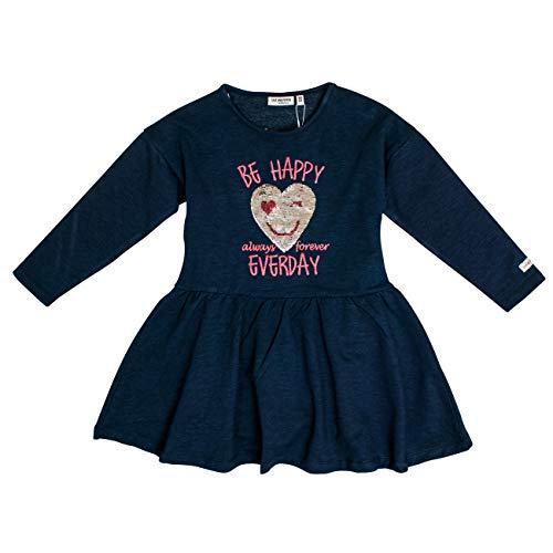 Salt & Pepper Mädchen Daydream Be Happy Wendepailletten Kleid, Blau (Navy Blue Melange 460), 104 (Herstellergröße: 104/110)