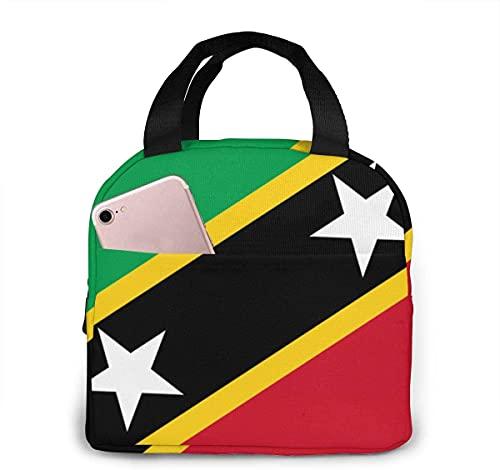 Flagge von Saint Kitts & Nevis Lunch Bag für Jungen Mädchen Männer Frauen Wiederverwendbare isolierte Lunchbox Einkaufstasche Lebensmittelbehälter für Arbeitsreisen Picknick