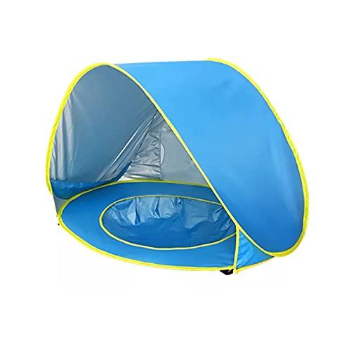 LIQIONG Bebé Playa Tienda Pop-Up Azul Simple Piscina Piscina UPF 50+ UV Protección impermeable Tienda de sombra a prueba de agua con Tienda de Sombra Doble Portátil Adecuado para 3-48 Meses Piscina de