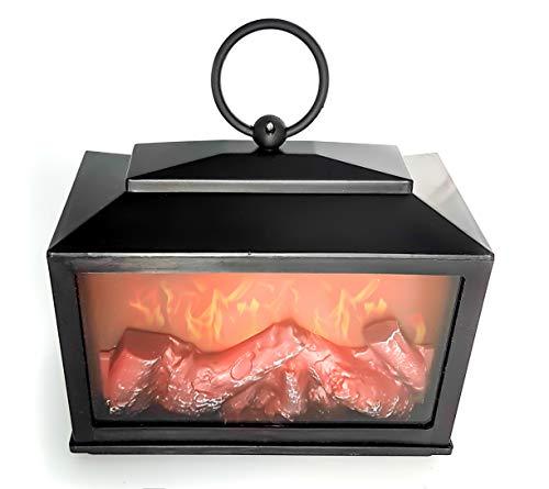 LED Tafel Open haard LED Lantaarn met Realistische Vlam Simulatie Zwart Kunststof 18x18 cm