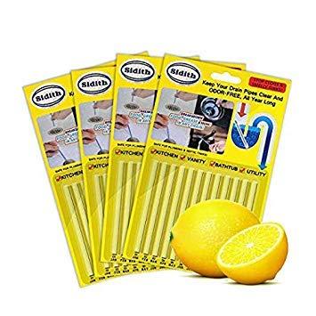 Sidith Drain Cleaner Sticks, Sink Deodorizer (48 Pcs), Sink Freshener to Keep Odor Free As Seen On TV for Bathroom, Kitchen, Toilet, Shower drain (Lemon)