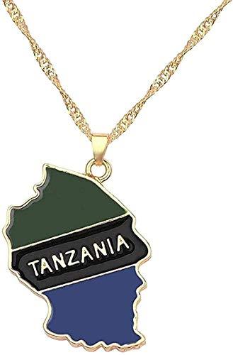 WYDSFWL Collar Mujer Hombre Moda País Mapa Bandera Collar África Guinea Ghana Liberia U-Boot Jamaica Sudáfrica Congo Honduras Colgante Cadena Hombre Joyería