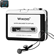 Cassette Tape to MP3 Converter, Wikoo USB Cassette Converter Portable Cassette Player, Compatible with Laptops and PC, Convert Tape Cassettes to MP3 Format