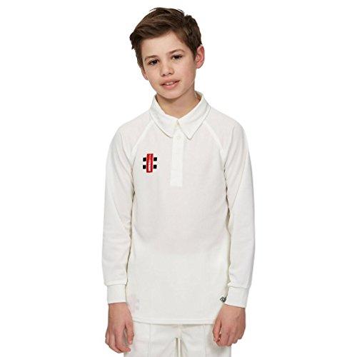 Gray Nicolls Matrix Long Sleeve Junior Cricket Shirt, White, 8 Years