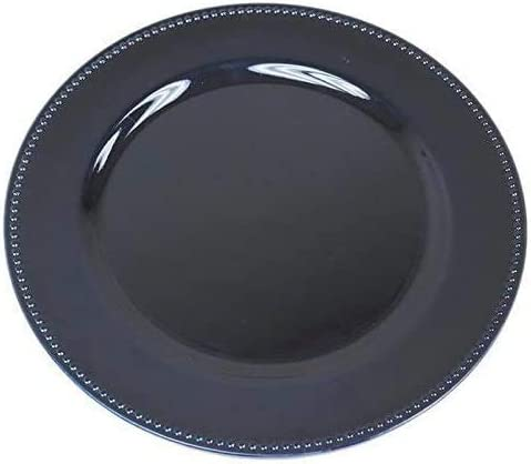 Alles Brands 13 Round Beaded Trim Decorative Charger Plates Holiday or Event Dining Decor Pack of 8 for Party Navy Blue