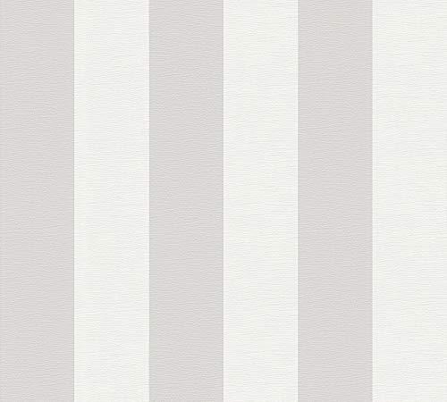 A.S. Création Vliestapete Liberté Tapete Landhaus Shabby Chic 10,05 m x 0,53 m grau weiß Made in Germany 314031 3140-31