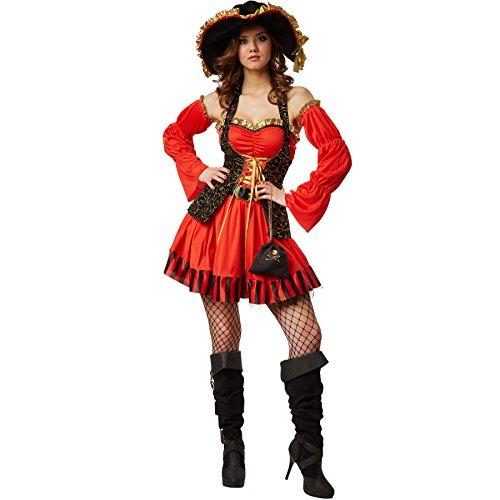 dressforfun Costume da donna - Sposa sexy del pirata | incl. Bella mini-borsa con emblema del teschio, lunghi guanti a manicotto, cintura e cappello con nastro giallo-dorato (M | no. 301780)