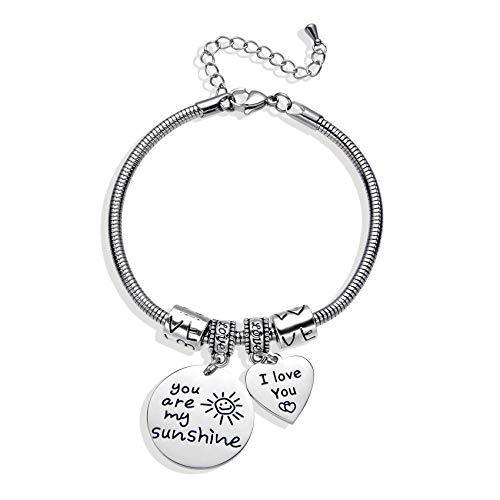Inspiration Bracelets for Women Girls, Silver Snake Bracelet for Mum and Daughter Best Friend Birthday Gift