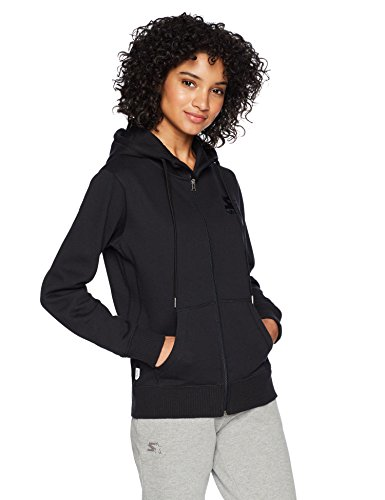 Starter Women's Standard Full-Zip Logo Hoodie with Solid Rib, black, Small