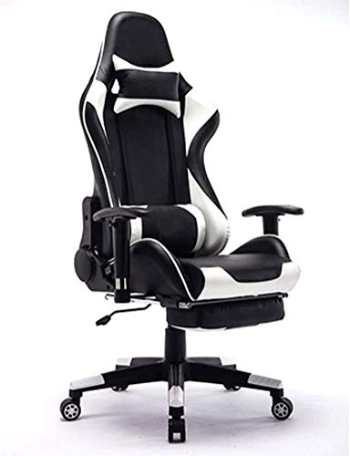 WSDSX Office Chairs Racing Gaming Chair,Ergonomic High Back Computer Chair Swivel E-Sports PU Leather Chair with Headrest and Lumbar Pillow Armrests Footrest Executive Office Desk Chair