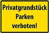 FS Warnschild Privatgrundstück - Parken verboten! Blechschild Schild gewölbt Metal Sign 20 x 30 cm