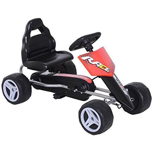 HOMCOM Coche de Pedales Go Kart con Asiento Ajustable Carga 30kg Go Kart Racing Deportivo para Niños 3 Años Juguete Exterior 80x49x50cm Acero
