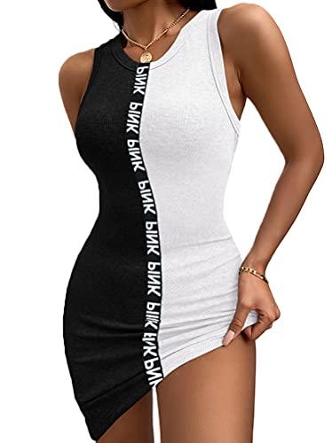 Onsoyours Frauen Sexy Print Ärmellose Enge O-Ausschnitt Kurzes Kleid Sommerkleider Damen Kleider B Schwarz und weiß XS