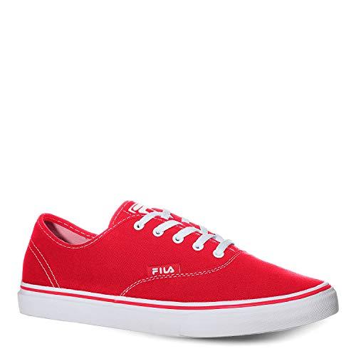 Fila Zapatos informales clásicos de lona para hombre, Blanco (Rojo/ Blanco (Fila Red/White)), 45 EU