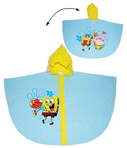 alles-meine.de GmbH Regenponcho / Regencape -  Spongebob Schwammkopf  - Gr. 140 - 152 - Circa 8 bis 10 Jahre - für Kinder - Jungen Mädchen - Fische Tiere Fahrrad / Regen Poncho..