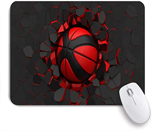 SUHOM Gaming Mouse Pad Rutschfeste Gummibasis,Schwarz-roter Basketballball auf rissiger Wand,für Computer Laptop Office Desk,240 x 200mm