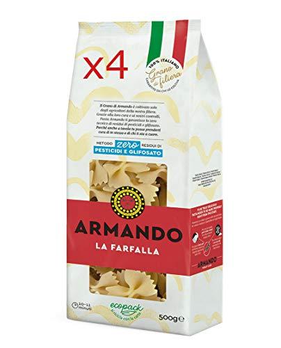 X4 PASTA ARMANDO LA FARFALLA DI SEMOLA DI GRANO DURO ITALIANO - TRAFILATA AL BRONZO - ZERO RESIDUI DI PESTICIDI E GLIFOSATO (4 X 500gr)