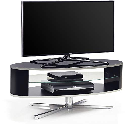 """MDA Designs Orbit 1100BB Gloss Black TV Stand with Gloss Black Elliptic Sides for Flat Screen TVs up to 55"""""""