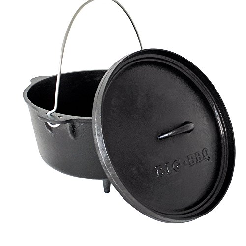 Big-BBQ DO 12.0 Dutch-Oven aus Gusseisen | Fertig eingebrannter 14er Koch-Topf aus Gusseisen | mit Deckelheber und Deckelständer | Modell 2019 mit Beinen