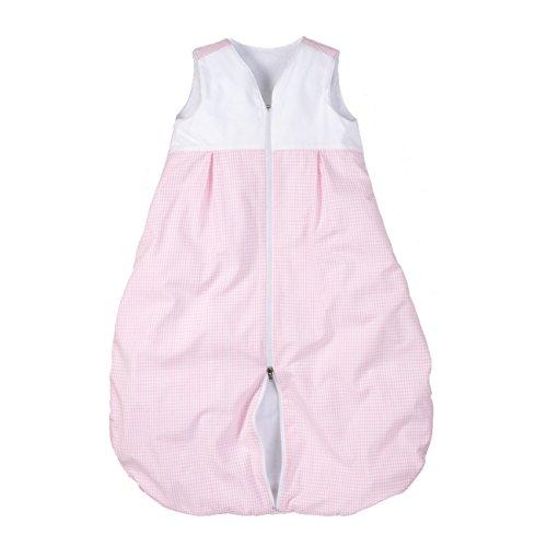 wellyou, Kinder-Baby-Schlafsack, mit Frottee gefüttert, rosa-weiß Vichykaro, für Mädchen, Größe 74-98