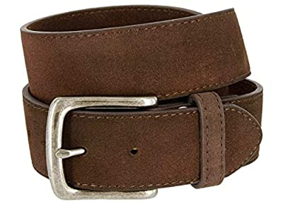 "Rounded Edge Buckle Casual Jean Suede Leather Belt 1 1/2"" Wide for Women (Brown, 36)"