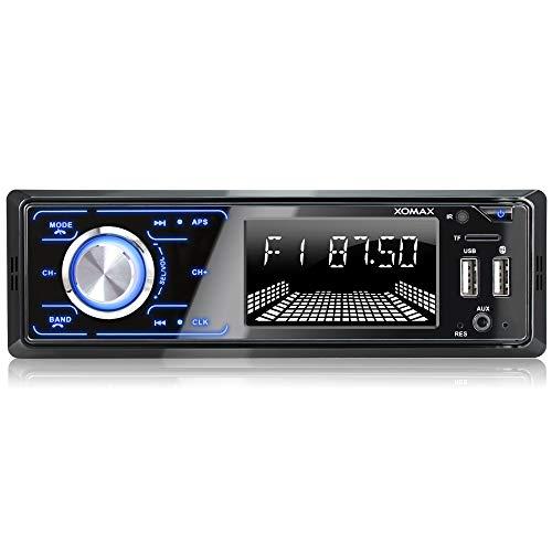 XOMAX XM-R271 Autoradio mit Bluetooth Freisprecheinrichtung, FM, 7 Beleuchtungsfarben, Smartphone Ladestation über 2. USB-Anschluss, USB, SD, MP3, AUX-IN, 1 DIN