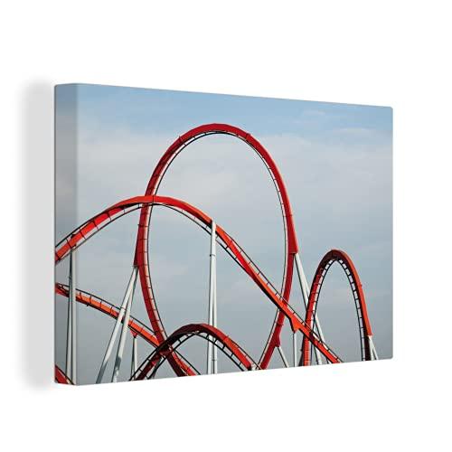 Canvas Schilderijen - Rode achtbaan in attractiepark - 150x100 cm - Wanddecoratie - canvas met 2cm dik frame
