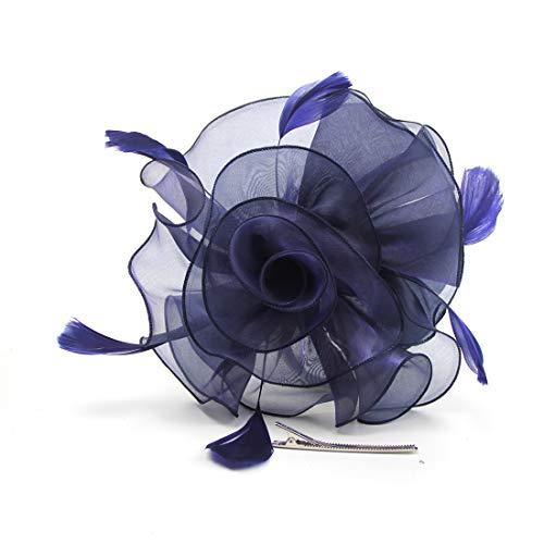 Fascinator Hut 20er 50er Jahre Organza Blume Derby Party Kopfbedeckung für Frauen und Mädchen - Blau - Medium