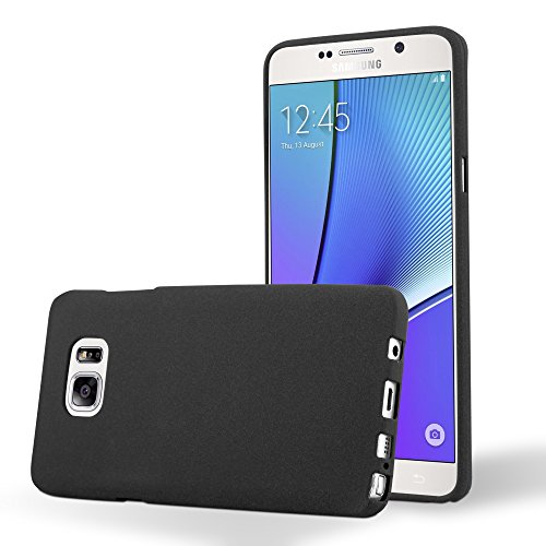 Preisvergleich Produktbild Cadorabo Hülle für Samsung Galaxy Note 5 - Hülle in Frost SCHWARZ Handyhülle aus TPU Silikon im matten Frosted Design - Silikonhülle Schutzhülle Ultra Slim Soft Back Cover Case Bumper