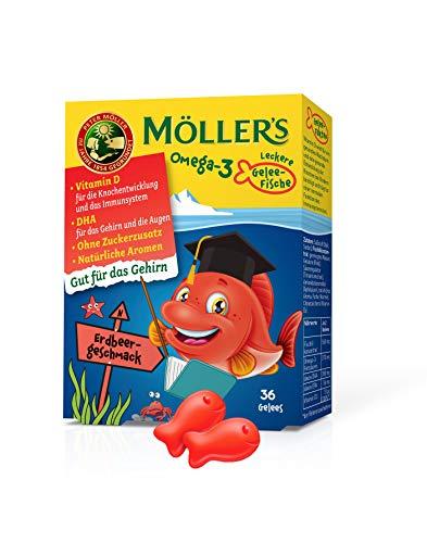 Möller's Omega 3 Kapseln für Kinder | Natürliche Omega 3 Fischtran mit Erdbeergeschmack | Mit DHA und EPA | Leicht zu kauen | Ohne Gluten, Laktose und Zucker | 36 Stück