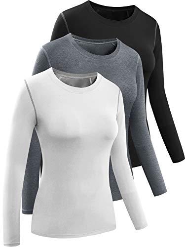 CADMUS Women's 3 Pack Running Compression Long Sleeve T Shirt,Balck,Grey,White,Large