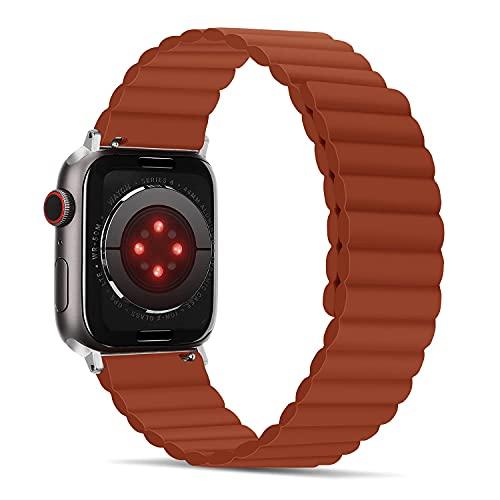 Correas compatibles con Apple Watch Correa de 42 mm 44 mm, cierre magnético de silicona para mujer y hombre, doble cara, brazalete de repuesto para iWatch SE Series 6 5 4 3 2 1