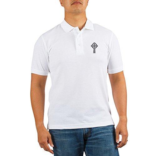 CafePress Celtic Knotwork Cross Golf Shirt Golf Shirt, Pique Knit Golf Polo White