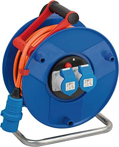 Brennenstuhl enrollacables Garant CEE 230V con alargador de 25 m (uso universal en exteriores, camping y caravana con 2 enchufes CEE, Made in Germany), Azul, Naranja